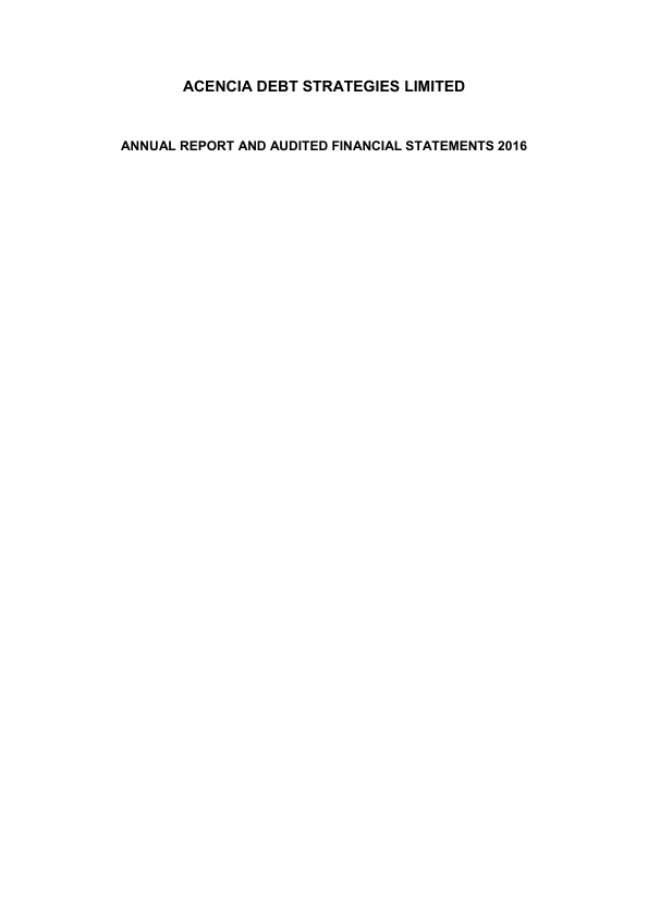 Acencia Debt Strategies   annual report