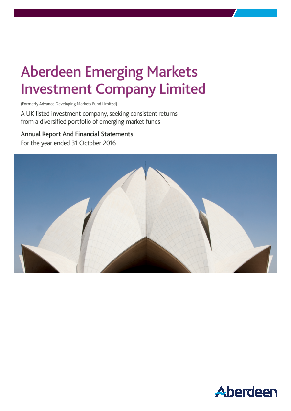 Aberdeen Emerging Markets Investment Company Limited (formally Advance Developing Markets Fund Ltd)   annual report