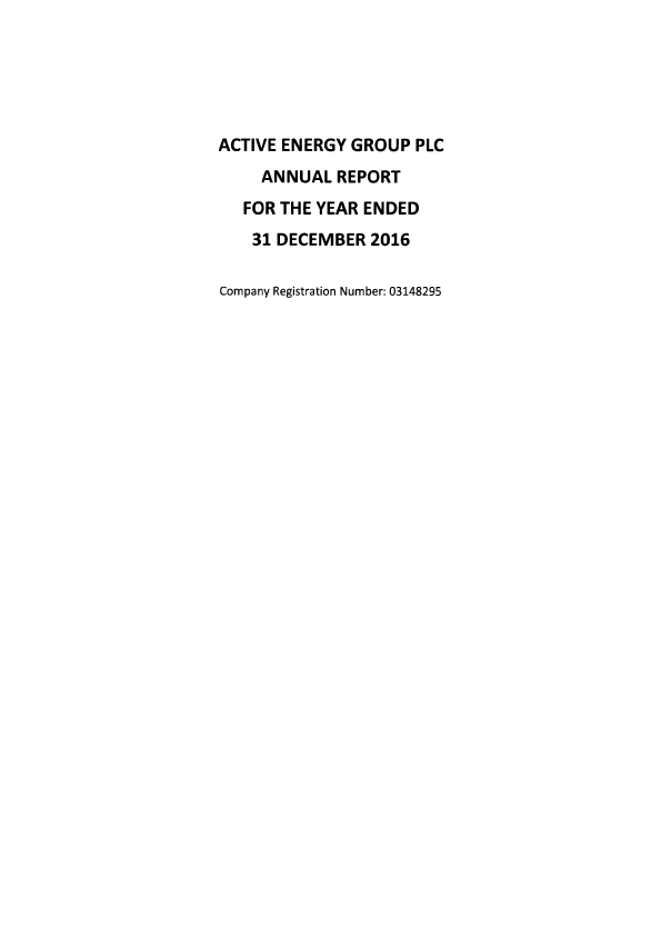 Active Energy Group Plc   annual report