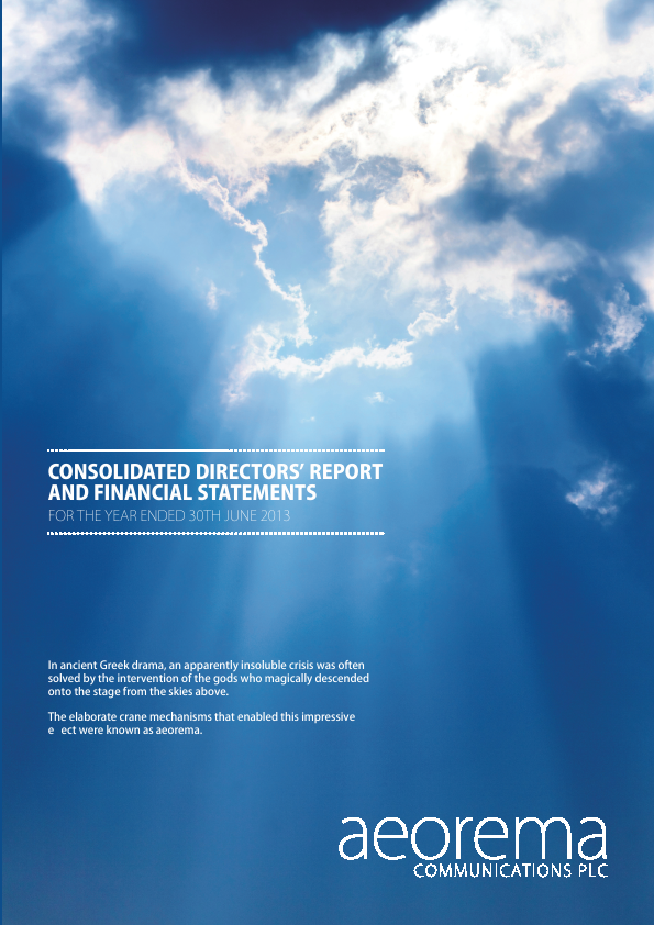 Aeorema Communications Plc   annual report