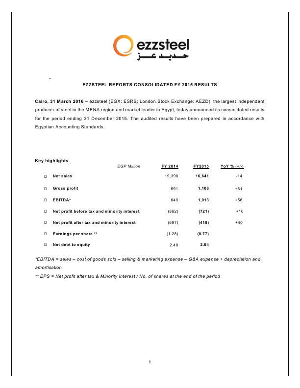 EZZ Steel   annual report