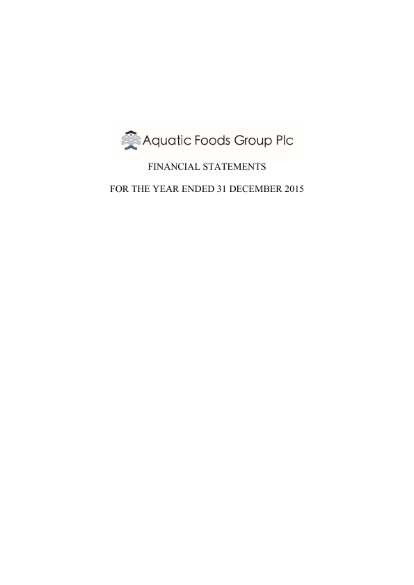 Aquatic Foods Group Plc   annual report