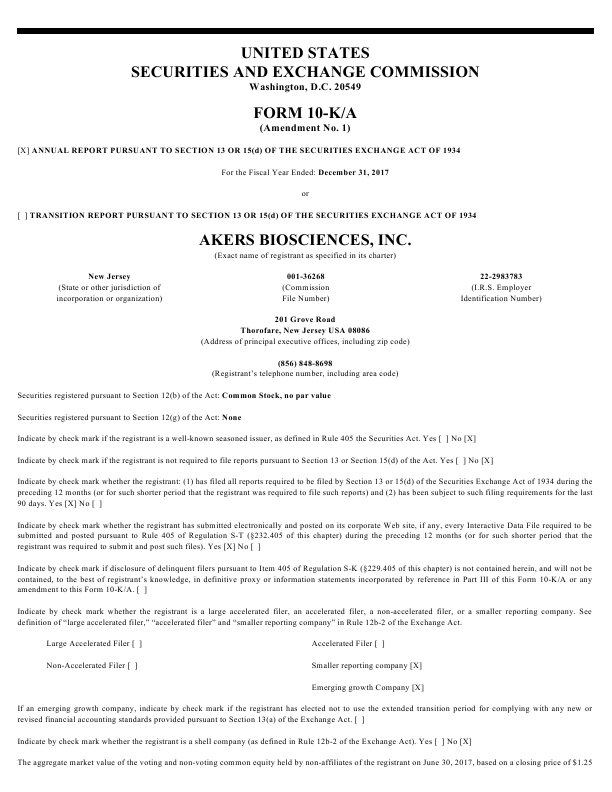 Akers Biosciences Inc   annual report