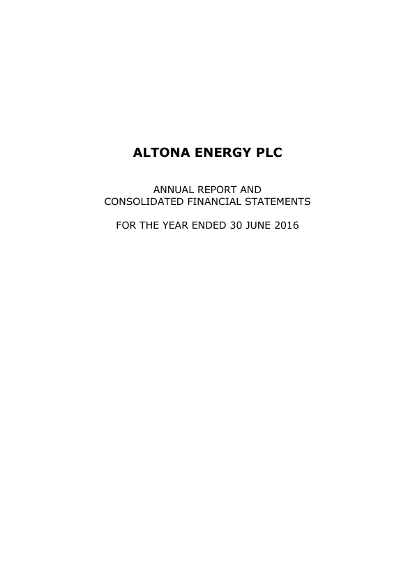 Altona Energy Plc   annual report