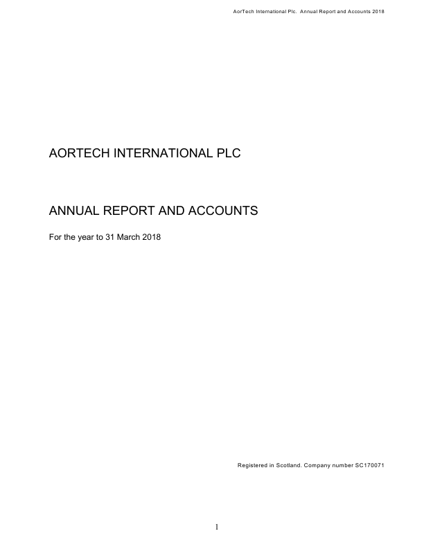 Aortech International   annual report