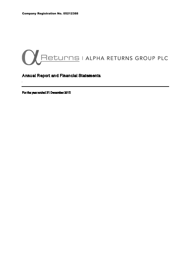 Alpha Returns Group Plc   annual report