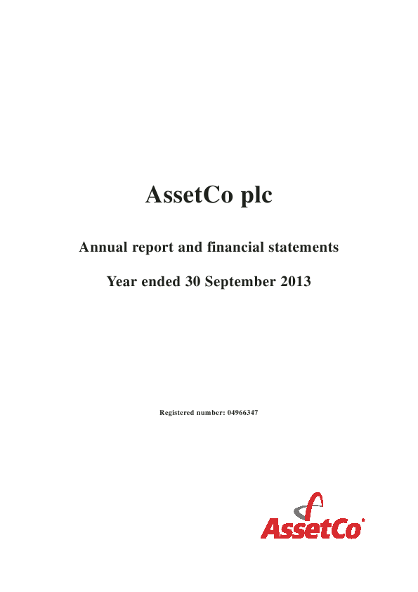 Assetco Plc   annual report