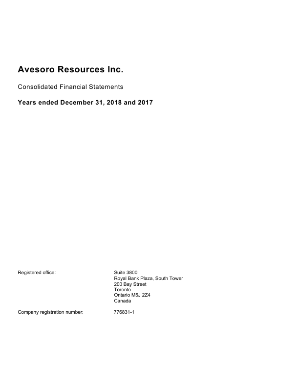 Avesoro Resources (formally Aureus Mining)   annual report