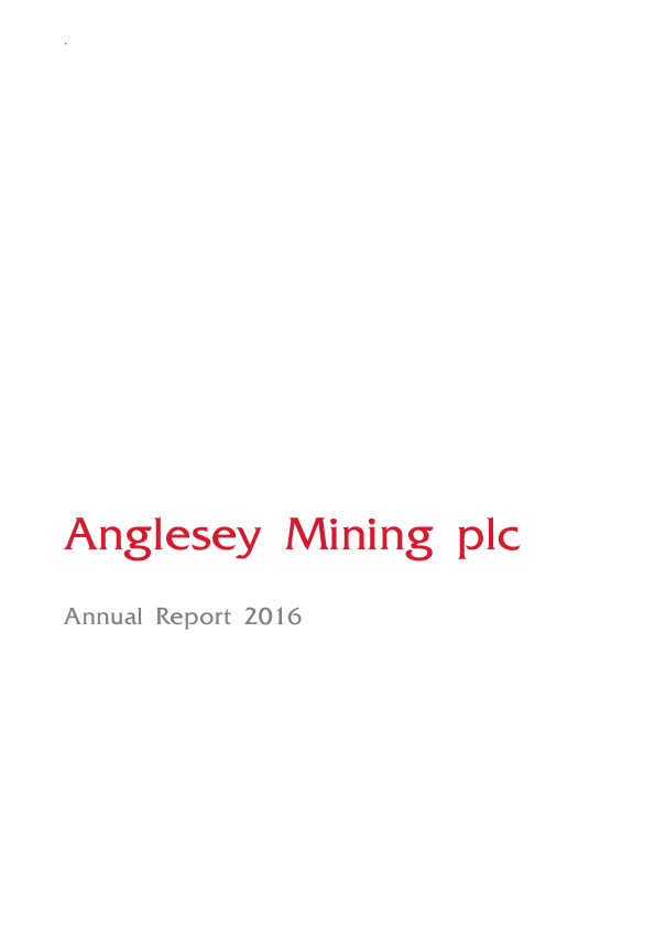 Anglesey Mining   annual report