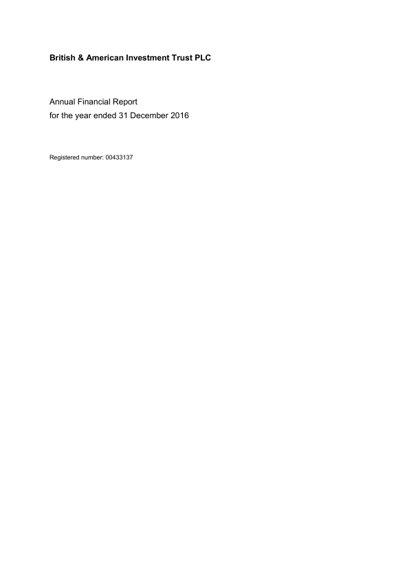 British & American Investment Trust   annual report