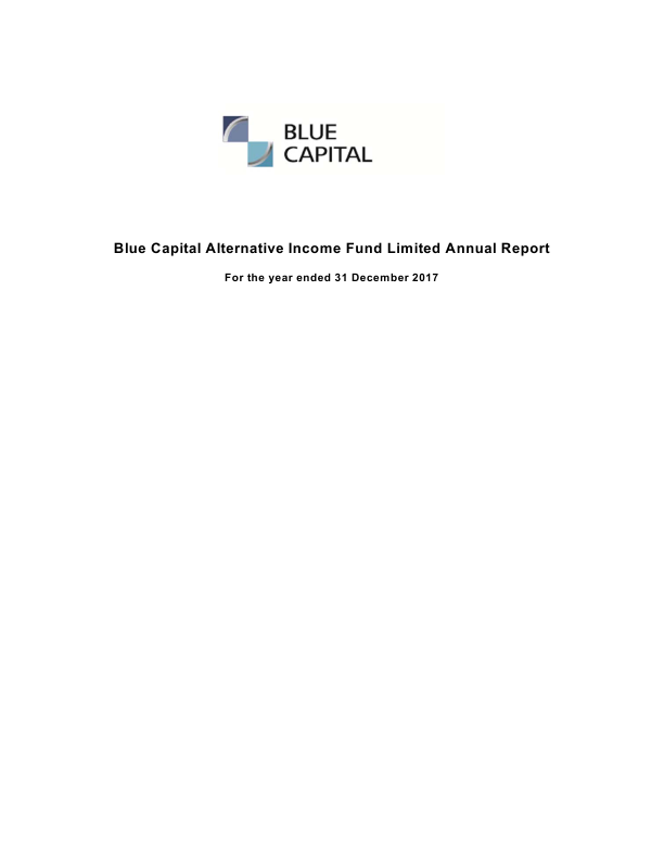 Blue Capital Alternative Income Fund (formally Blue Capital Global Reinsurance Fund)   annual report