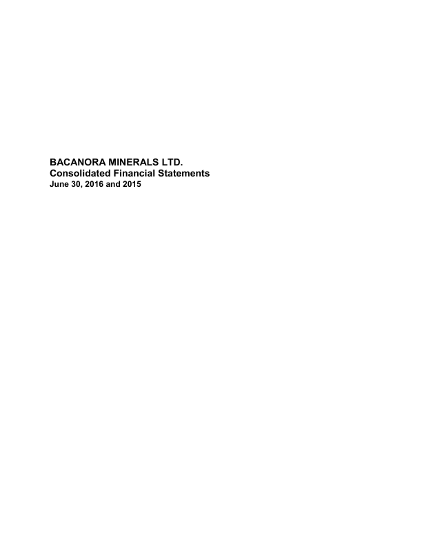Bacanora Lithium (Previously Bacanora Minerals)   annual report