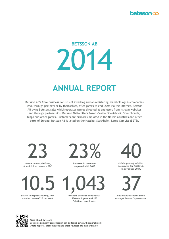 Betsson   annual report