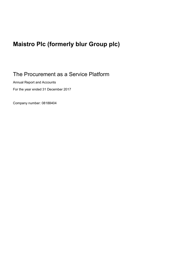 Maistro (previously Blur Group)   annual report