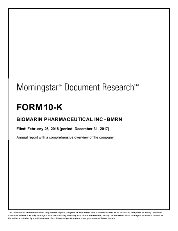 BioMarin Pharmaceutical Inc.   annual report