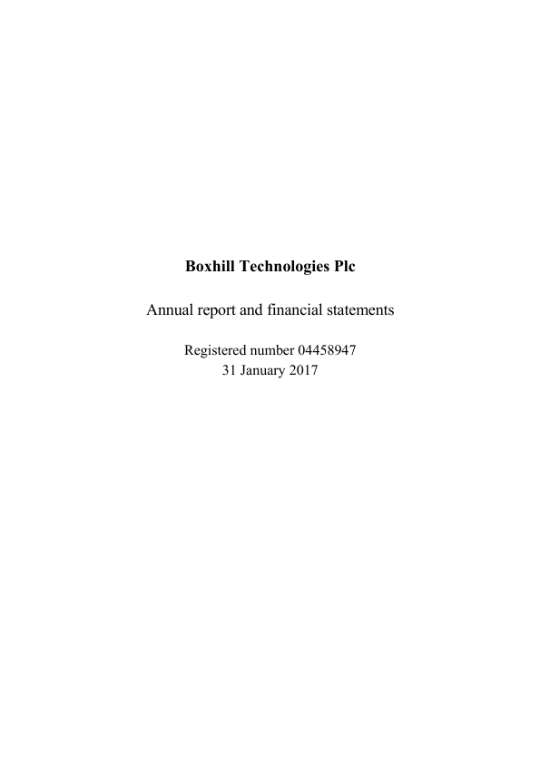 Boxhill Technologies Plc   annual report