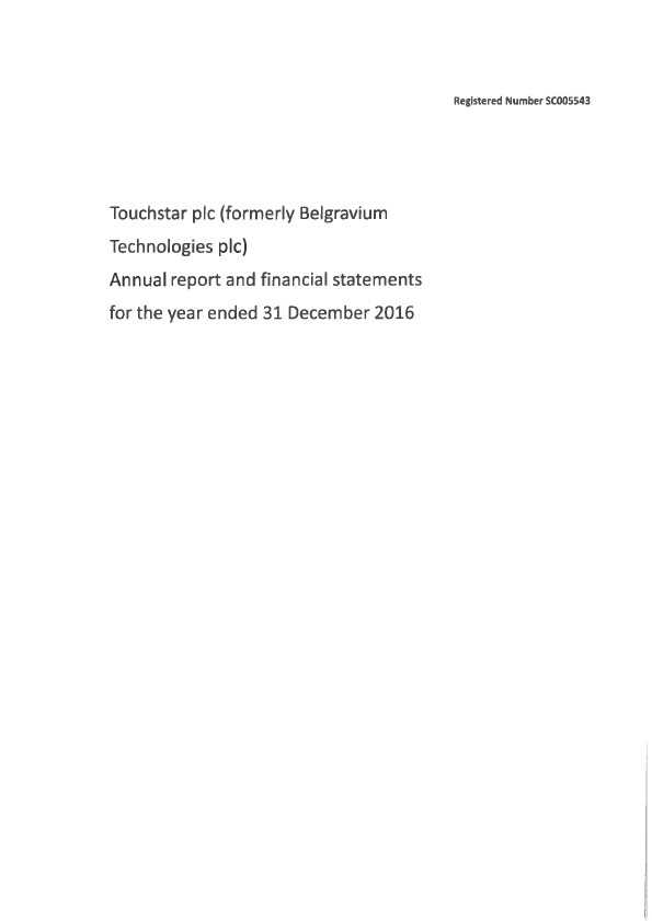 Touchstar (previously Belgravium Technologies)   annual report