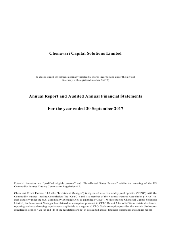 Chenavari Capital Solutions   annual report