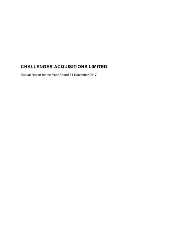Challenger Acquisitions   annual report