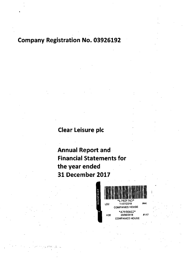 Clear Leisure Plc   annual report