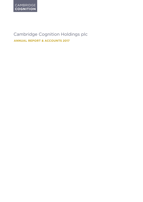 Cambridge Cognition Holdings Plc   annual report