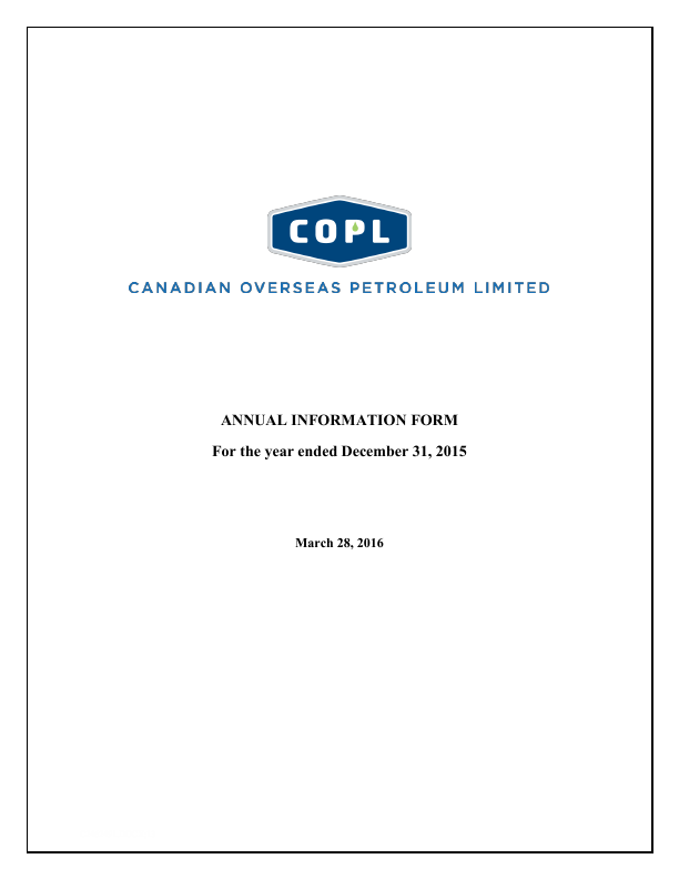 Canadian Overseas Petroleum   annual report