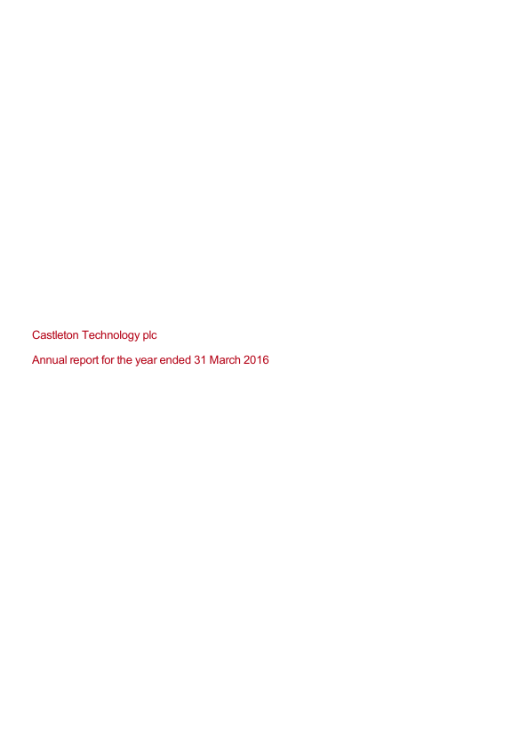 Castleton Technology Plc   annual report
