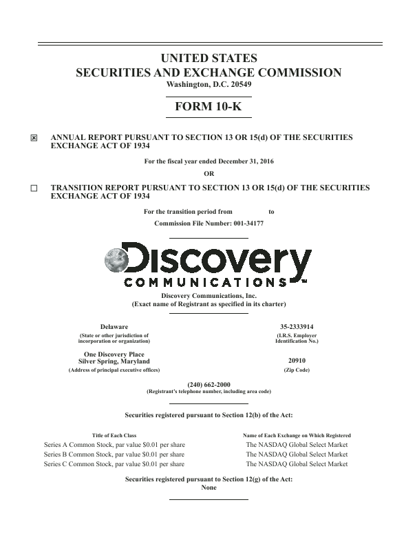 Discovery Communications, Inc.   annual report
