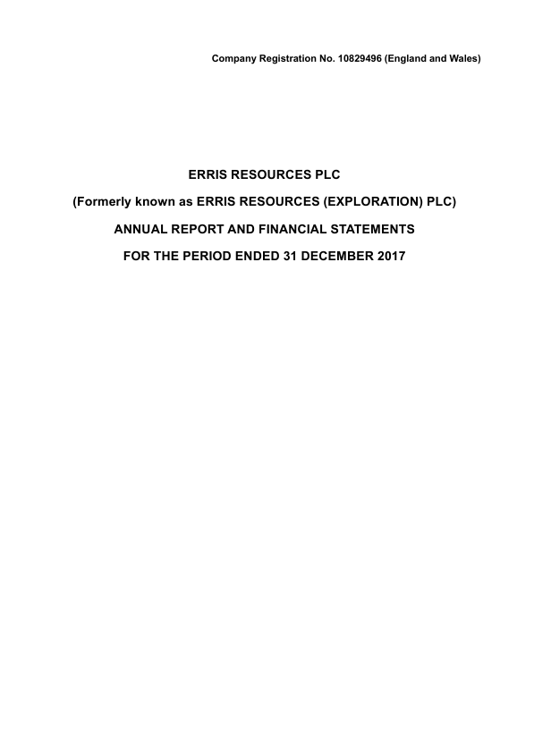 Erris Resources   annual report
