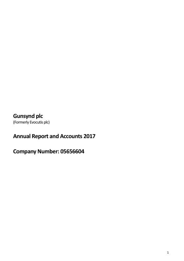 Gunsynd Plc (Previously Evocutis)   annual report