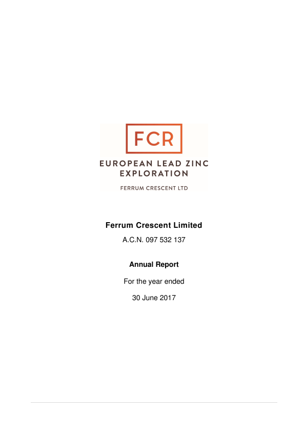 Europa Metals (previously Ferrum Crescent)   annual report