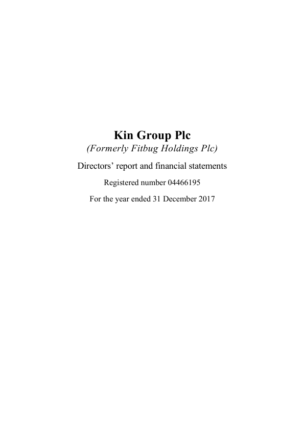 Kin Group (previously Fitbug Holdings)   annual report
