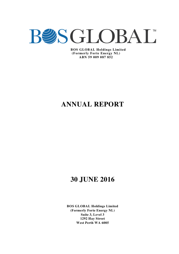 BOS Global (formally Forte Energy Nl)   annual report