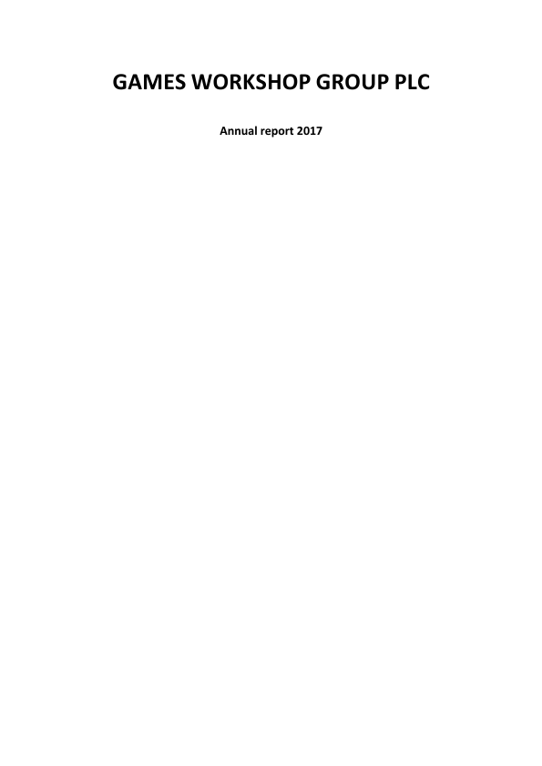 Games Workshop Group   annual report
