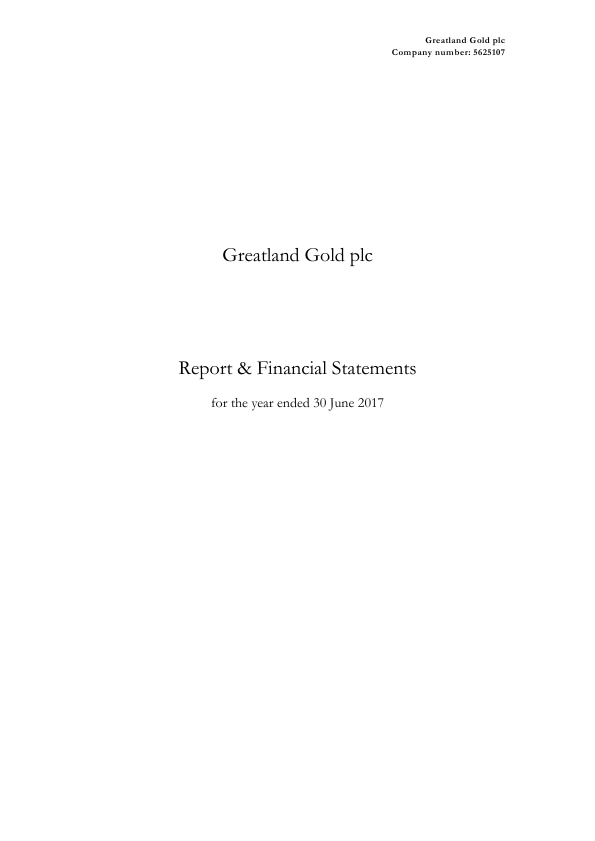 Greatland Gold Plc   annual report