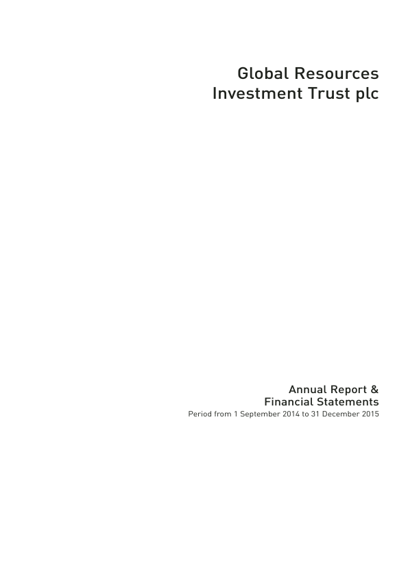 Global Resources Investment Trust Plc   annual report