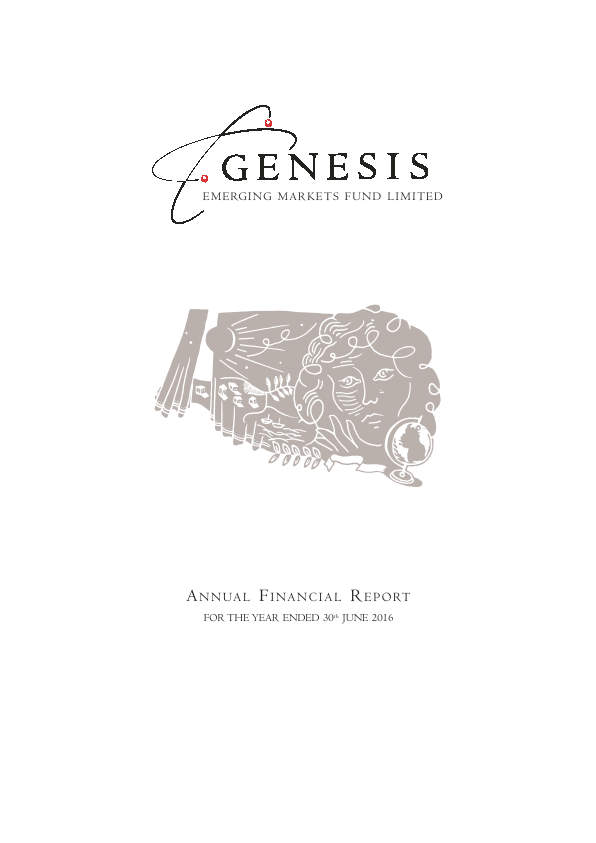 Genesis Emerging Markets Fund   annual report