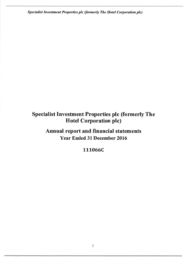 Specialist Investment Properties (formally The Hotel Corp)   annual report
