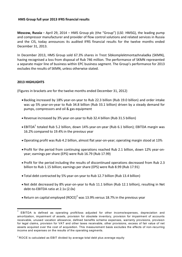 Hms Hydraulic Mach & Sys Group Plc   annual report