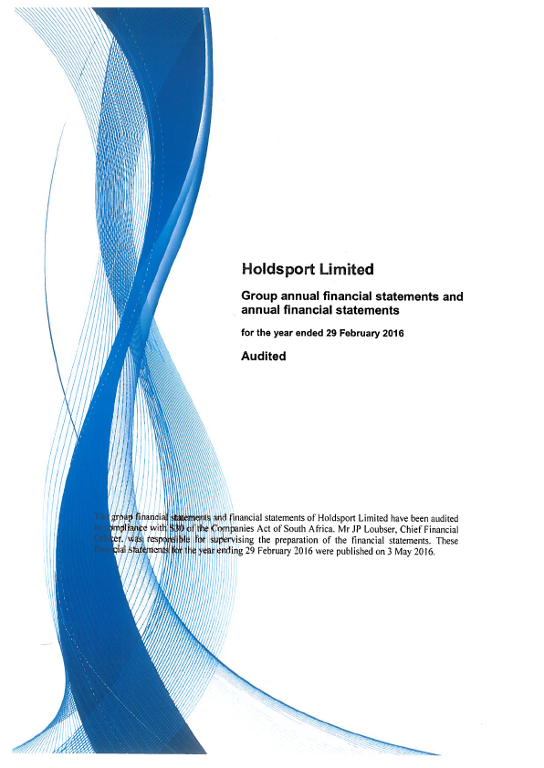 Holdsport Limited   annual report