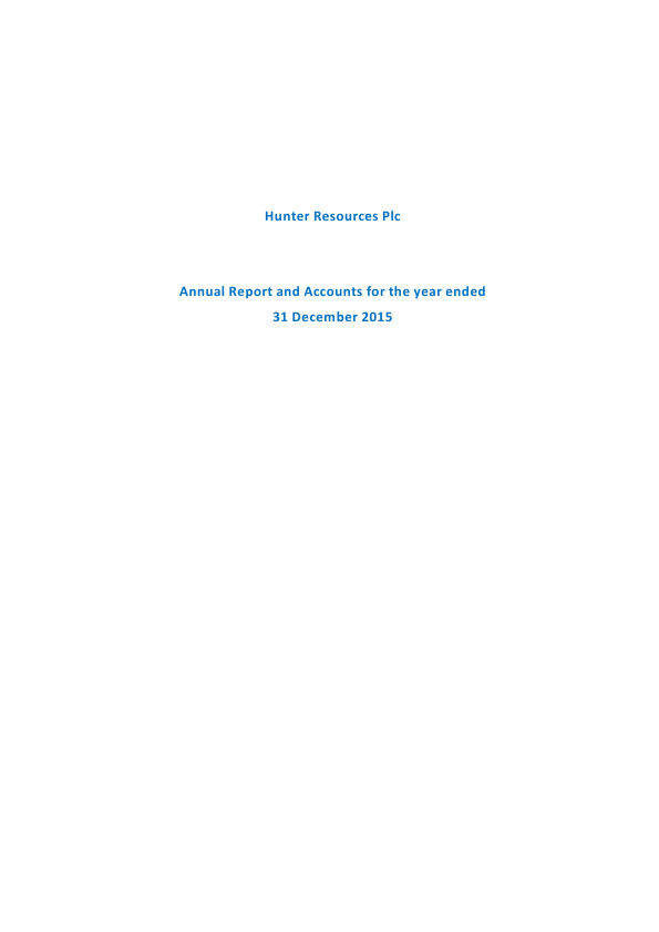 Hunter Resources Plc   annual report
