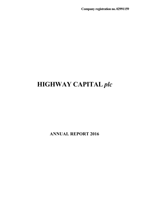 Highway Capital Plc   annual report