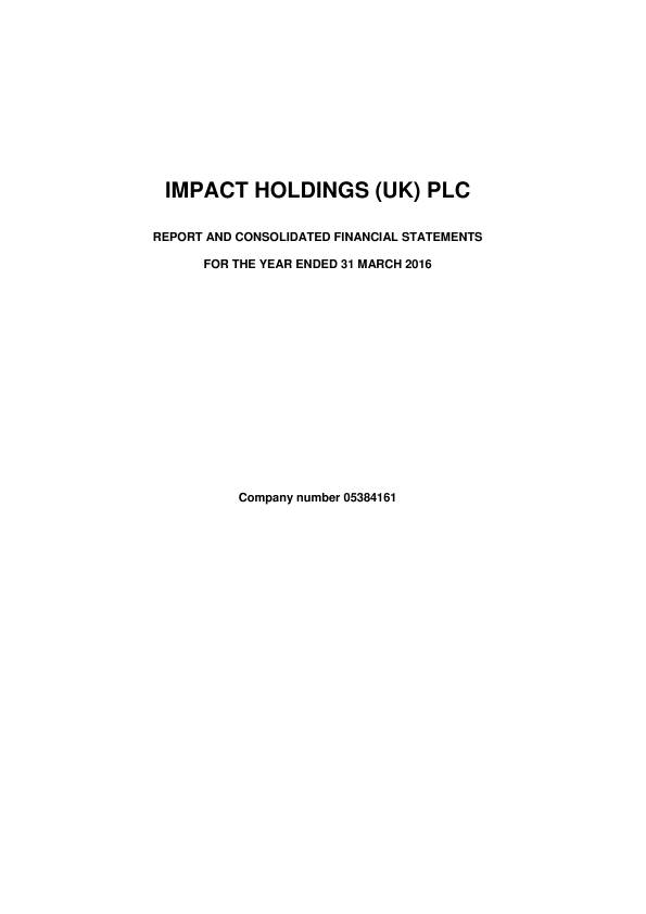Impact Holdings(UK)   annual report