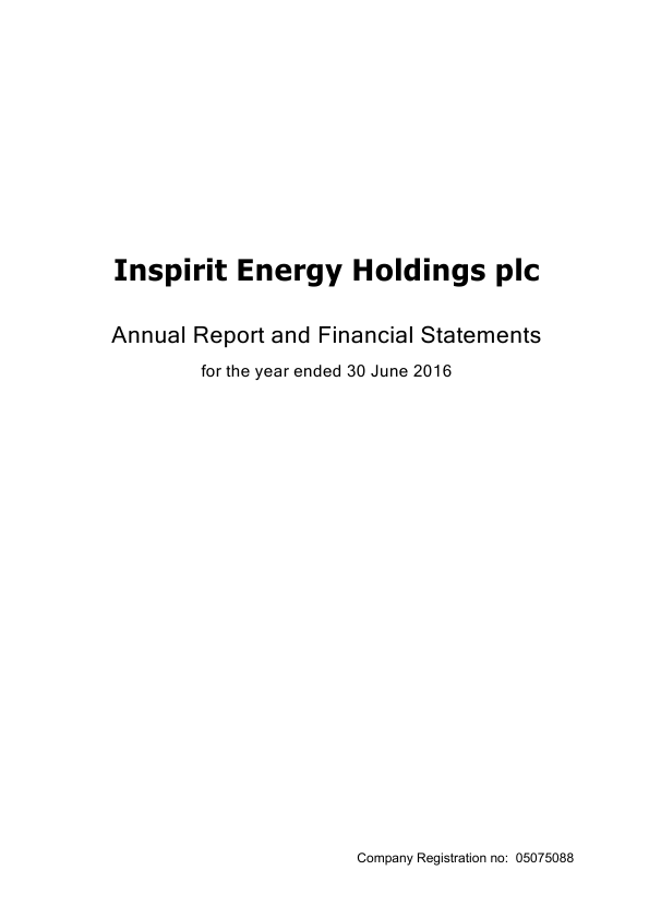 Inspirit Energy Holdings Plc   annual report