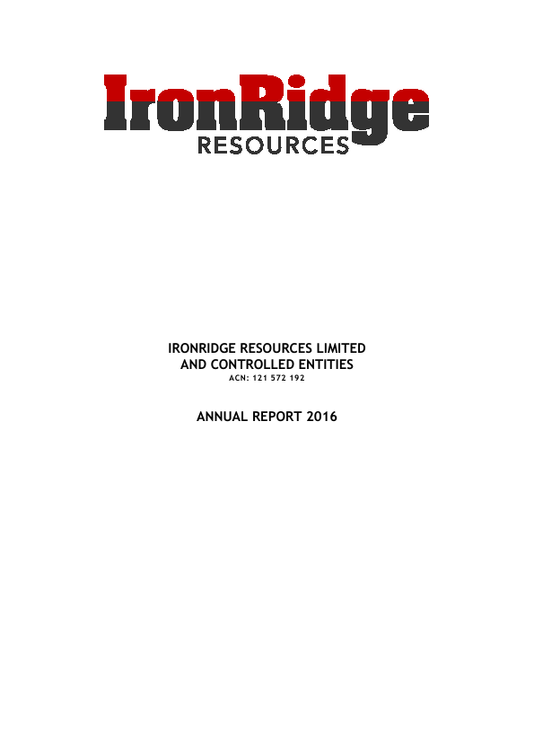 Ironridge Resources   annual report