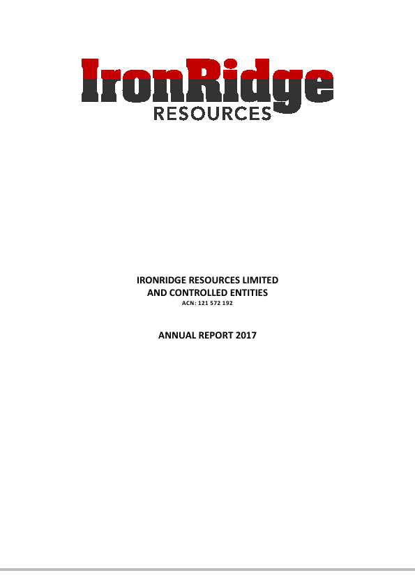 Ironridge Resources Ltd   annual report