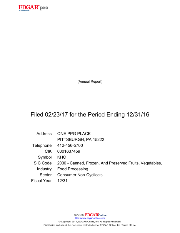 The Kraft Heinz Company   annual report