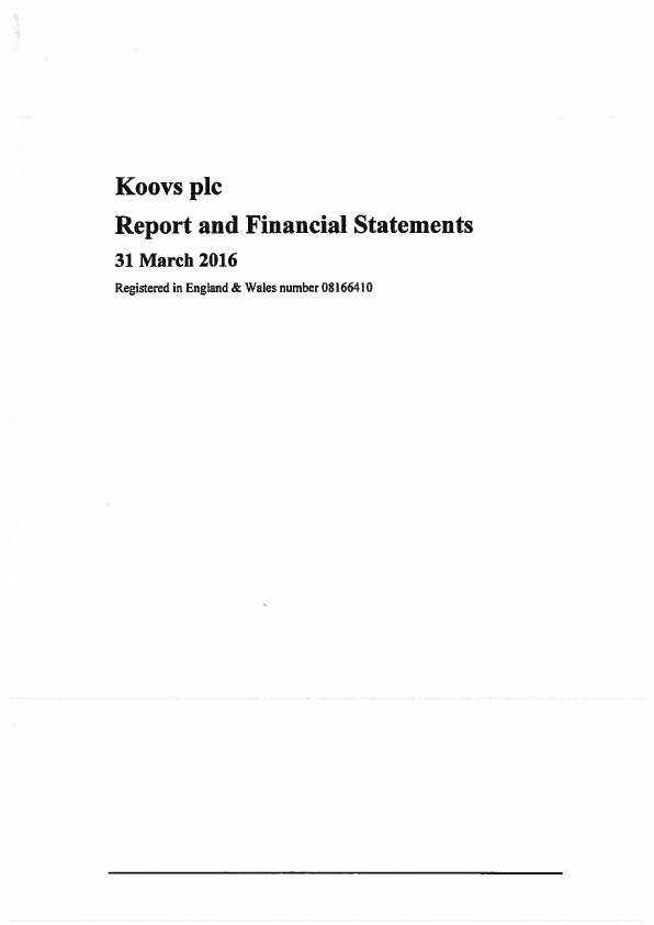 Koovs Plc   annual report