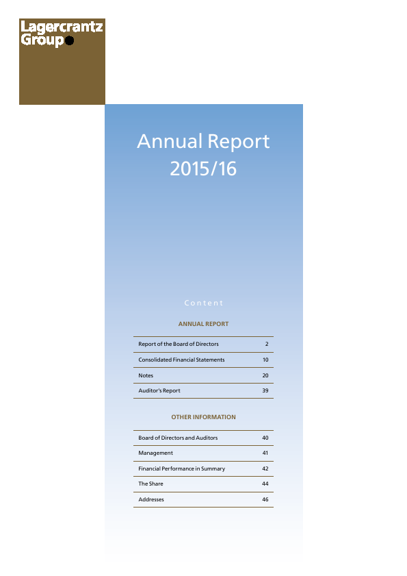 Lagercrantz Group   annual report
