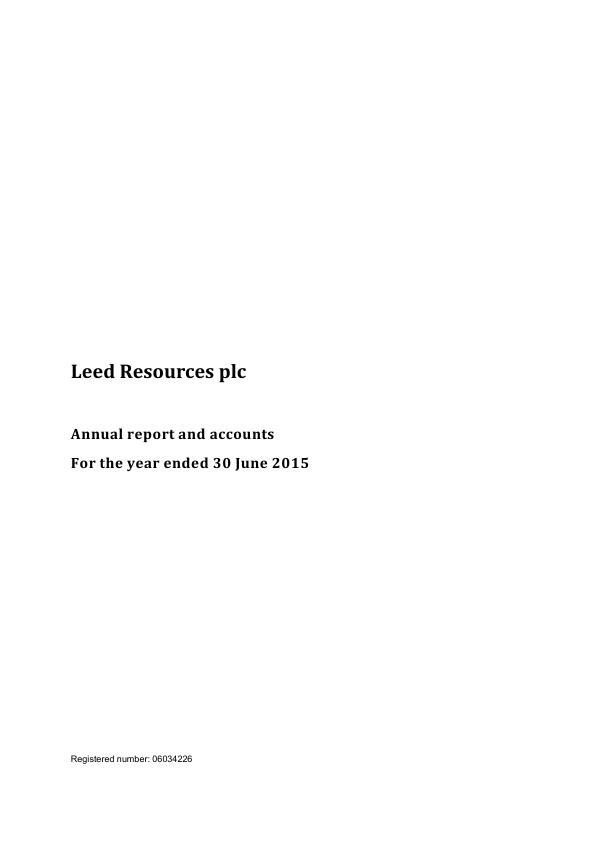 Leed Resources Plc   annual report
